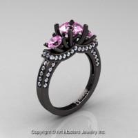 French 14K Black Gold Three Stone Light Pink Sapphire Diamond Engagement Ring R182-14KBGDLPS