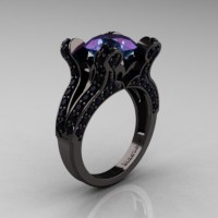 French Vintage 14K Black Gold 3.0 CT Alexandrite Black Diamond Pisces Wedding Ring Engagement Ring Y228-14KBGBDAL