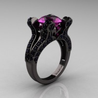 French Vintage 14K Black Gold 3.0 CT Amethyst Pisces Wedding Ring Engagement Ring Y228-14KBGAM
