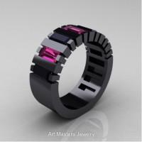 Modern 14K Black Gold Baguette Black Diamond Pink Sapphire Tank Mens Wedding Ring R395-14KBGPSBD