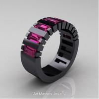 Modern 14K Black Gold Baguette Pink Sapphire Tank Mens Wedding Ring R395-14KBGPS