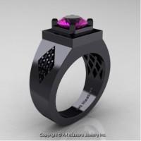 Mens Modern Classic 14K Black Gold 2.0 Ct Amethyst Black Diamond Designer Wedding Ring R338M-14KBGBDAM