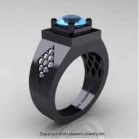 Mens Modern Classic 14K Black Gold 2.0 Ct Blue Topaz Diamond Designer Wedding Ring R338M-14KBGDBT