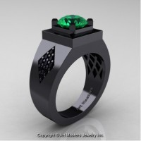 Mens Modern Classic 14K Black Gold 2.0 Ct Emerald Black Diamond Designer Wedding Ring R338M-14KBGBDEM