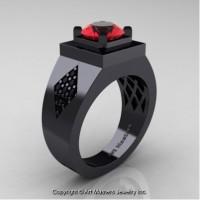 Mens Modern Classic 14K Black Gold 2.0 Ct Ruby Black Diamond Designer Wedding Ring R338M-14KBGBDR