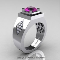 Mens Modern Classic 14K White Gold 2.0 Ct Amethyst Diamond Designer Wedding Ring R338M-14KWGDAM