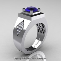 Mens Modern Classic 14K White Gold 2.0 Ct Blue Sapphire Diamond Designer Wedding Ring R338M-14KWGDBS