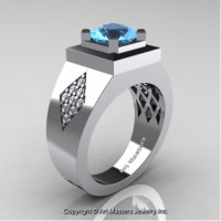 Mens Modern Classic 14K White Gold 2.0 Ct Blue Topaz Diamond Designer Wedding Ring R338M-14KWGDBT