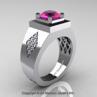 Mens Modern Classic 14K White Gold 2.0 Ct Pink Sapphire Diamond Designer Wedding Ring R338M-14KWGDPS
