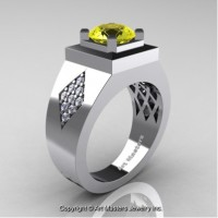 Mens Modern Classic 14K White Gold 2.0 Ct Yellow Sapphire Diamond Designer Wedding Ring R338M-14KWGDYS