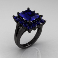 Modern Victorian 14K Black Gold 4.0 CT Blue Sapphire Designer Engagement Ring R217-14KBGBS