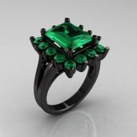 Modern Victorian 14K Black Gold 4.0 CT Emerald Designer Engagement Ring R217-14KBGEM