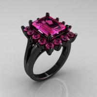 Modern Victorian 14K Black Gold 4.0 CT Pink Sapphire Designer Engagement Ring R217-14KBGPS