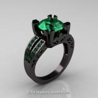 Modern Vintage 14K Black Gold 3.0 Carat Emerald Solitaire and Wedding Ring Bridal Set R102S-14KBGEM