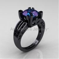 Modern Vintage 14K Black Gold 3.0 Carat Chrysoberyl Alexandrite Black Diamond Solitaire Ring R102-14KBGBDAL