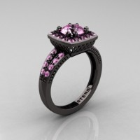 Renaissance Classic 14K Black Gold 1.0 Carat Light Pink Sapphire Engagement Ring R220-14KBGLPS