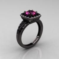 Renaissance Classic 14K Black Gold 1.0 Carat Pink Sapphire Black Diamond Engagement Ring R220-14KBGBDPS