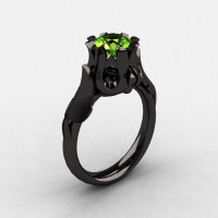 Natures Nouveau 14K Black Gold Peridot Wedding Ring Engagement Ring NN105-14KBGP-1