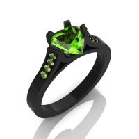 Gorgeous 14K Black Gold 1.0 Ct Heart Peridot Modern Wedding Ring Engagement Ring for Women R663-14KBGP-1