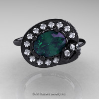 Art Nouveau 14K Black Gold 1.0 Ct Oval Alexandrite Diamond Nature Inspired Engagement Ring R296A-14KBGDAL-1