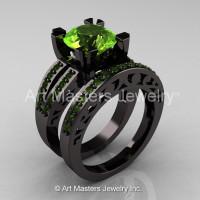 Modern Vintage 14K Black Gold 3.0 Carat Peridot Solitaire and Wedding Ring Bridal Set R102S-14KBGP-1
