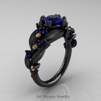 Nature Classic 14K Black Gold 1.0 Ct Blue Sapphire Champagne Diamond Leaf and Vine Engagement Ring R340S-14KBGCHDBS Perspective