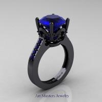 Classic 14K Black Gold 3.0 Carat Blue Sapphire Solitaire Wedding Ring R301-14KBGBS