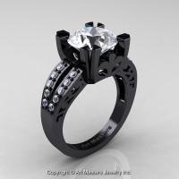 Modern Vintage 14K Black Gold 3.0 Carat White Sapphire Diamond Solitaire Ring R102-14KBGDWS - Perspective