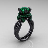 High Fashion 14K Black Gold 3.0 Ct Emerald Knot Engagement Ring R390-14KBGEM