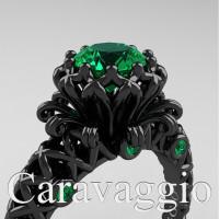 Caravaggio Lace 14K Black Gold 1.0 Ct Emerald Engagement Ring R634-14KBGEM