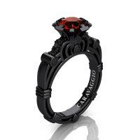 Caravaggio 14K Black Gold 1.0 Ct Brown and Black Diamond Engagement Ring R623-14KBGBDBRD