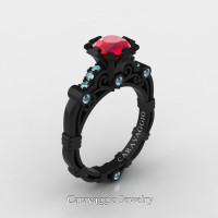 Caravaggio 14K Black Gold 1.0 Ct Ruby Aquamarine Engagement Ring R623-14KBGAQR