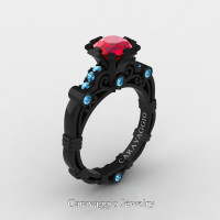 Caravaggio 14K Black Gold 1.0 Ct Ruby Blue Topaz Engagement Ring R623-14KBGBTR