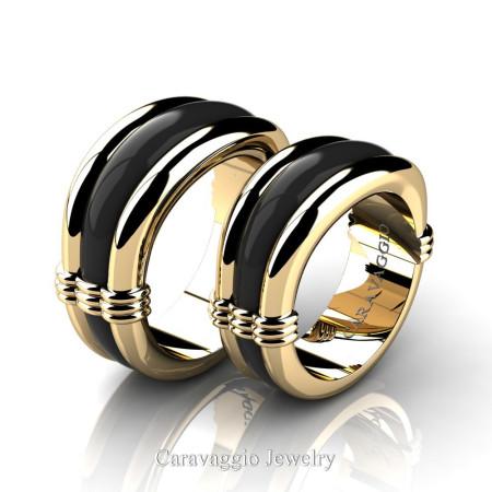 Caravaggio-Classic-14K-Yellow-and-Black-Gold-Wedding-Ring-Set-R2001S-14KYBG-P