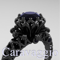 Caravaggio Lace 14K Black Gold 1.0 Ct Ruby Engagement Ring R634-14KBGBD