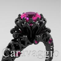 Caravaggio Lace 14K Black Gold 1.0 Ct Pink Sapphire Engagement Ring R634-14KBGPS