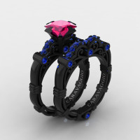 Art Masters Caravaggio 14K Black Gold 1.25 Ct Princess Pink and Blue Sapphire Engagement Ring Wedding Band Set R623PS-14KBGBSPS