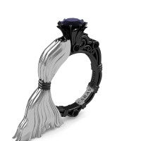 Caravaggio Luxury Italian 14K White and Black Gold 1.0 Ct Black Sapphire Engagement Ring R643E-14KWBGBLS