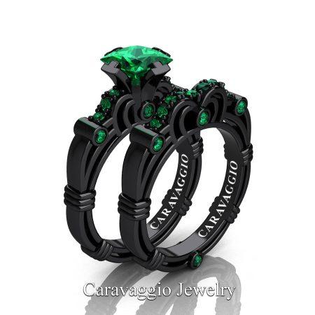 Art-Masters-Caravaggio-14K-Black-Gold-1-25-Carat-Princess-Emerald-Engagement-Ring-Wedding-Band-Set-R623PS-14KBGEM-P2