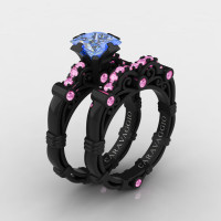 Art Masters Caravaggio 14K Black Gold 1.25 Ct Princess Light Blue and Pink Sapphire Engagement Ring Wedding Band Set R623PS-14KBGLPSLBS