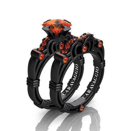 Art-Masters-Caravaggio-14K-Black-Gold-1-25-Carat-Princess-Orange-Sapphire-Engagement-Ring-Wedding-Band-Set-R623PS-14KBGOS-P
