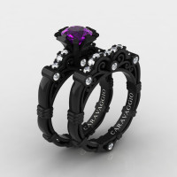 Art Masters Caravaggio 14K Black Gold 1.0 Ct Amethyst Diamond Engagement Ring Wedding Band Set R623S-14KBGDAM