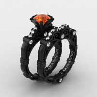 Art Masters Caravaggio 14K Black Gold 1.0 Ct Orange Sapphire Diamond Engagement Ring Wedding Band Set R623S-14KBGDOS