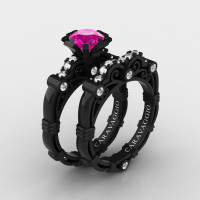 Art Masters Caravaggio 14K Black Gold 1.0 Ct Pink Sapphire Diamond Engagement Ring Wedding Band Set R623S-14KBGDPS