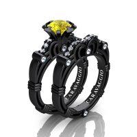 Art Masters Caravaggio 14K Black Gold 1.0 Ct Yellow Sapphire Diamond Engagement Ring Wedding Band Set R623S-14KBGDYS