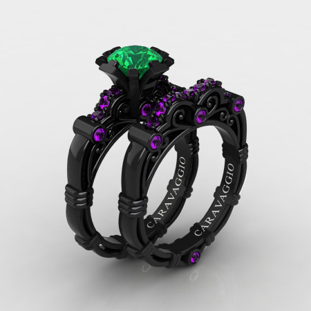 Art-Masters-Caravaggio-14K-Black-Gold-1-0-Ct-Emerald-Amethyst-Engagement-Ring-Wedding-Band-Set-R623S-14KBGAMEM-P