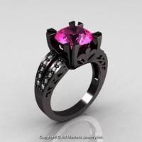 Modern Vintage 14K Black Gold 3.0 Ct Pink Sapphire Diamond Solitaire Ring R102-14KBGDPS