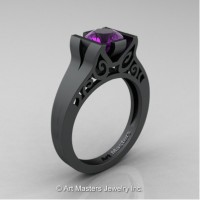 Modern Art Deco 14K Matte Black Gold 1.0 Ct Amethyst Engagement Ring R36N-14KMBGAM