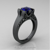 Modern Art Deco 14K Matte Black Gold 1.0 Ct Blue Sapphire Engagement Ring R36N-14KMBGBS