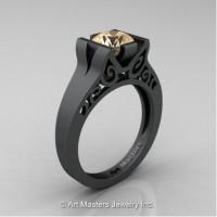 Modern Art Deco 14K Matte Black Gold 1.0 Ct Champagne Diamond Engagement Ring R36N-14KMBGCHD